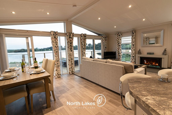 The interior of one of the luxury lodges in the Lake District at North Lakes Country Park.